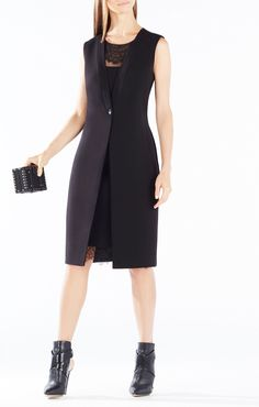 Foster lace trim vest dress at Bcbg Designer Cocktail Dress, Lace Dress Black, Dresses For Work, Formal Dresses, Lace Insert, Lace Trim, Dress Skirt, Fall Outfits, Clothes For Women
