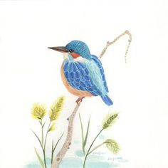 Original art for sale at UGallery.com | Kingfisher by Ziling Wang | $400 | watercolor painting | 8.3 h x 8.3 w