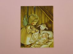 Vintage Greeting Sweet Little Angel Newborn Baby Crestwick Christmas Card | eBay