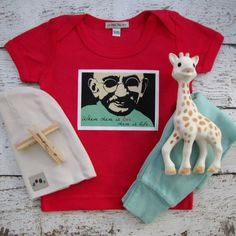 Check out Totally Hip baby clothes, Ghandi, Life is Love, cool baby clothes, baby tshirt on lepetitmonami