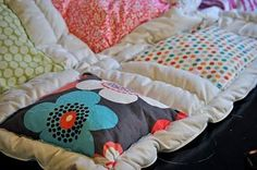 """Cheater"" quilt! Sew squares on a down comforter. I LOVE this idea! How easy and I love blankets that look fluffy!----this will be perfect for all those kid clothes i have been saving for SOME reason! I need a sewing machine!"