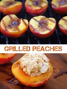 Sweet and smoky Grilled Peached A healthy and delicious way to grill produce on the your campfire or outdoor grill. Kids will love to eat their fruits and veggies See all 18 Things You Didn't Know You Could Grill on listotic. Grilled Fruit, Grilled Peaches, Barbecue, Grilling Recipes, Cooking Recipes, Delicious Desserts, Yummy Food, Fruit Recipes, Summer Recipes