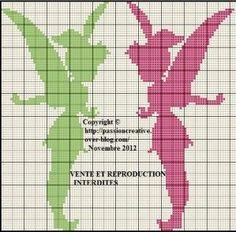 GRILLE Point de croix Fée clochette monochrome Grid Cross Stitch: Tinkerbell…
