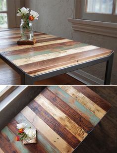 recycled pallets, sanded & finished as a table—love the varying colors of stain….