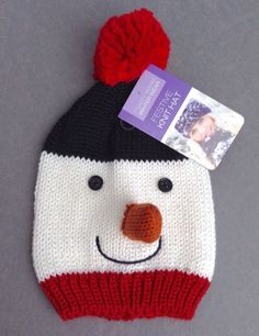 New SNOWMAN w/NOSE POM BEANIE Women/Girl Knit Winter Ski Hat Christmas Red/White #ToastyWarmWinterWear #Beanie #Christmas