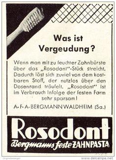 Original-Werbung/ Anzeige 1942 - BERGMANNS ZAHNPASTA ROSODONT - Ca. 45 X 65 Mm - Werbung