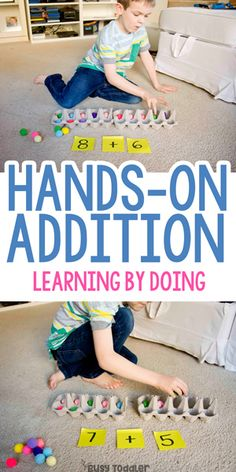 Hands-On Addition Activity with Ten-Frames - Busy Todler Hands-on Addition Activity. Great simple addition math game for at home or a math center at school.Hands-on Addition Activity. Great simple addition math game for at home or a math center at school. Kindergarten Math Activities, Kids Learning Activities, Teaching Kids, Hands On Learning Kindergarten, Math Games For Preschoolers, Maths, Math Addition Games, Addition Facts, Math For Kids