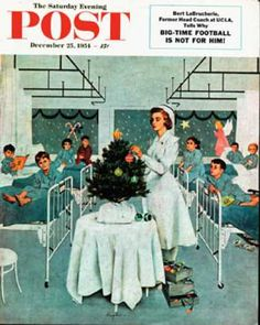Saturday Evening Post - 1954-12-25: Children's Ward at Christmas (George Hughes)