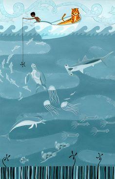 Life of Pi (Fishing) Art Print by Erik Krenz Pi Art, Life Of Pi, Fish Illustration, Art Illustrations, Illustrators, Art Prints, Drawings, Artwork, Painting
