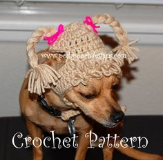 Cabbage Patch Dog Hat - Small Dog Beanie pattern on Craftsy.com