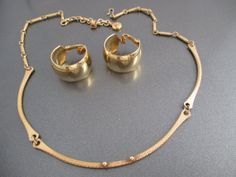 Sarah Coventry   Gold tone Choker and Clip Hoop by LucyLucyLemon, $16.99