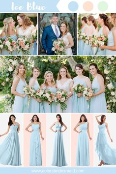 Many bride-to-bes may understand the wedding event flower they want in their own bouquet, but are a little mystified about the remainder of the wedding event flowers needed to complete the ceremony and reception. Tan Wedding, Perfect Wedding, Dream Wedding, Baby Blue Wedding Theme, Wedding Goals, Bridesmaid Dress Shades, Blue Bridesmaids, Wedding Flower Guide, Wedding Flowers