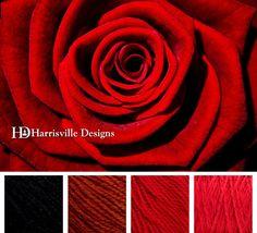 Rose color palette featuring Harrisville Designs SHETLAND yarn: Black, Topaz, Red, and Scarlet.