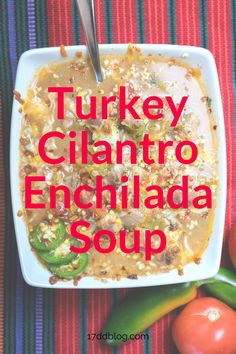 Simple   Low Carb describes this lovely soup recipe! If you're looking to add to your soup collection, give this recipe a shot. This Low Carb Turkey Cilantro Enchilada Soup should hit the spot. Plus it's family friendly, great for leftovers and it's perfect for low carb meal planning. #lowcarbmealplanning #17daydiet #17daydietrecipes #lowcarbrecipes #lowcarbsoup #17daydietsouprecipes Easy Dinner Recipes, Soup Recipes, Diet Recipes, Lunches And Dinners, Meals, 17 Day Diet, Enchilada Soup, Low Carb Meal Plan, Enchiladas