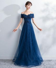 Blue lace off shoulder long prom dress, blue evening dress, Customized service and Rush order are available Blue Evening Dresses, Prom Dresses Blue, Cheap Prom Dresses, Homecoming Dresses, Prom Dresses Online, Bridesmaid Dresses, Formal Dresses, Evening Gowns, Beautiful Prom Dresses