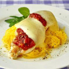 Chicken Mozzarella with Roasted Spaghetti Squash - spaghetti squash provides a low calorie, high flavor alternative to pasta in this nutritious and delicious dish.