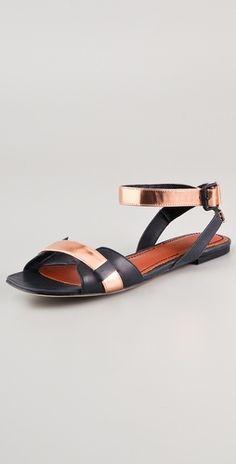 Elizabeth and James. Paige flat metallic sandals.