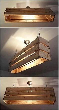 Who would have thought to make a kitchen light out of a pallet??? #palletprojects #BenchmarkAustin #78613Lender #Woodworking