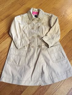 Baby Gap Toddler Girl Long Winter Dress Coat Raincoat Beige 5 Years 5T | eBay