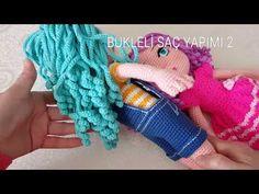 BUKLELİ SAÇ YAPIMI 2 💕BLO LARA SAÇ EKLEME💕 - YouTube Crochet Shawls And Wraps, Doll Hair, Crochet For Kids, Amigurumi Doll, Crochet Animals, Crochet Dolls, Arm Warmers, Lana, Free Pattern