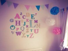 Alphabet Set - Girls, perfect for any nursery. All our alphabets are hand painted to your specifications & we can colour match. Order here: www.moomoo-memories.co.uk