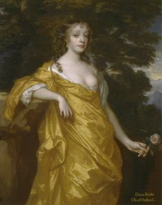 Diana Kirke, later Countess of Oxford (c.1665). Peter Lely (Dutch, 1618-1680, active in Britain from 1643). Oil on canvas. Yale Center for British Art, Paul Mellon Collection. Lely is now regarded as a leading artist of the English Restoration. He was a master colorist and his style was best manifested in exquisite draperies of his subjects, as in the portrait of Diana Kirke. His portraiture always flattered the sitters.
