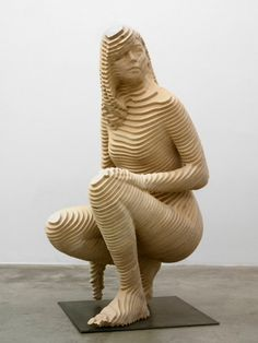 """Debora"" sculpture of kneeling woman by Xavier Veilhan Cardboard Sculpture, Cardboard Art, Wood Sculpture, Jüdisches Museum, Xavier Veilhan, Plywood Art, Ceramic Sculpture Figurative, Instalation Art, Arte Fashion"