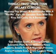 Things I Trust More Than Hillary Clinton Funny Meme