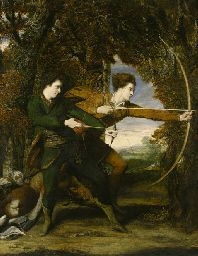 Sir Joshua Reynolds, P.R.A. (1723-1792)  The Archers: Double Portrait of Colonel John Dyke Acland and Thomas Townshend, Viscount Sydney, full-length, in a wooded landscape Price realised  GBP 1,653,750 USD 2,492,201 Estimate GBP 1,500,000 - GBP 2,500,000 (USD 2,260,500 - USD 3,767,500)