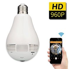 SDETER 960P Wifi IP Camera Panoramic 360 Degree HD Video LED Light Bulb , Day/night Vision, Alarm Notification, SD Card Slot White ** Visit the sponsored product link more details.