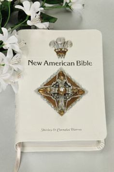 Decorated White Crystal Cross Bible NAB – DeMartineau