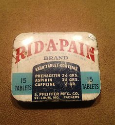 VINTAGE RID-A-PAIN MEDICINE ADVERTISING TIN - 1950