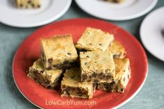 Chewy low carb chocolate chip pecan blondies that are quick and easy to prepare. No one will guess that these cookie bars are sugar free.