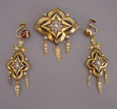VICTORIAN 18k yellow gold brooch and earrings, brooch with pendant loop