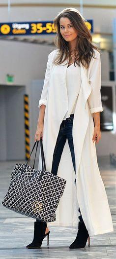 White Long Duster Outfit Idea by Nette Nestea