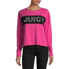 Juicy Couture Women's Embellished Cotton Tee ($88) ❤ liked on Polyvore featuring tops, t-shirts, couture pink, pink long sleeve tee, pink long sleeve top, cotton long sleeve tee, sparkly tops and long sleeve tops