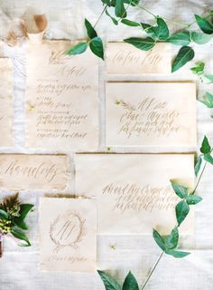 Vintage inspired wedding invitations: http://www.stylemepretty.com/little-black-book-blog/2015/06/23/romantic-wedding-inspiration-at-villa-san-juan-capistrano/ | Photography: Gregory Ross - http://www.gregoryrossblog.com/