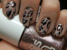 Nude pink glitter leopard print nail art