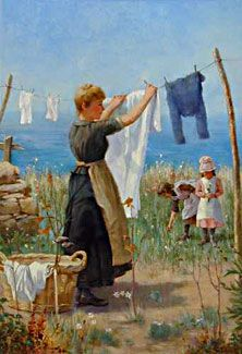 quenalbertini: Hanging the Clothes to Dry Laundry Art, Norman Rockwell Paintings, Vintage Laundry, Vintage Pictures, Beautiful Paintings, Washing Clothes, Painting Inspiration, Vintage Art, Line Art