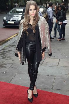 Xenia Tchoumi wearing #leatherpants #leatherskinnypants http://www.leathercelebrities.com/photos/entry/xenia-tchoumi-attends-the-vamos-cuba-vip-evening/