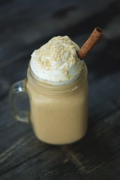 Gingerbread Pumpkin Smoothie: 1c milk (dairy or nondairy), 3/4c pumpkin puree, 1 small banana, ginger, cinnamon, nutmeg, cloves, small amount of sweetener such as molasses, honey, agave, maple syrup. Optional:  Soak 1/4c rolled oats and 1Tbs chia in milk overnight, and add to smoothie.