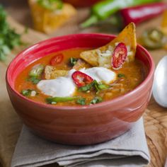 This appealing Mexican-inspired soup is a terrific example of how to enjoy a variety of vegetables. The baked chips and low-fat cheese add crunch and body and with only 260 calories per serving, you can feel good about serving your family a healthy meal. - Healthy Chicken Tortilla Soup