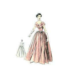 Vintage 1950s Evening Gown Pattern Uncut by RebeccasVintageSalon, $78.00