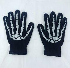 Black Skeleton Knit Gloves Bones Gothic Punk Emo Metal Halloween Horror Unisex  | eBay Victorian Gothic, Gothic Lolita, Fisherman's Hat, Gothic Accessories, Psychobilly, Halloween Horror, Knitted Gloves, Rockabilly, Skeleton