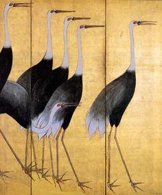 Vintage Japanese cranes screen (detail) • SkinSins NY Mood//board