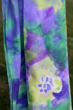 Hand painted silk scarf.  Great project for kids!