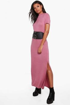 boohoo Wendy Side Splits T-Shirt Maxi Dress. Maxi dress fashions. I'm an affiliate marketer. When you click on a link or buy from the retailer, I earn a commission.