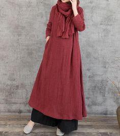 Linen maxi dress dark red dress women black maxi dress | Etsy , #black #dark #d...