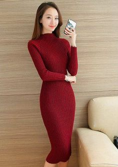 Buy High Neck Knitted Bodycon Dress | mysallyfashion.com Malaysia
