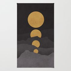 Rise of the golden moon Rug by Budi Satria Kwan - $28.00